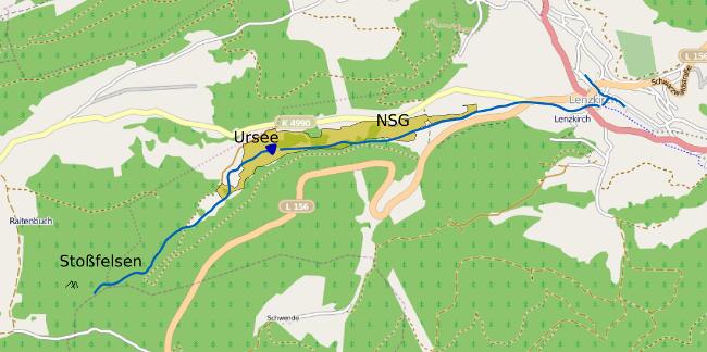 Verlauf des Urseebaches und Lage und Ausbreitung des NSG Ursee